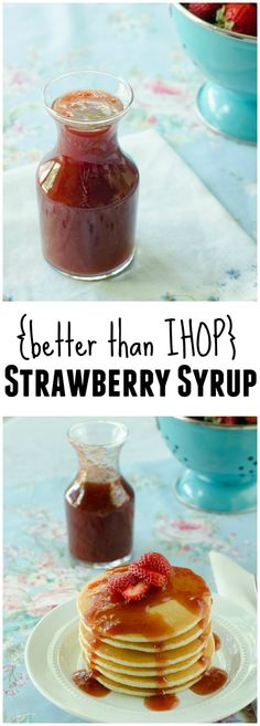 Better-than-IHOP Strawberry Syrup from LauraFuentes.com. I left the strawberries whole and then mashed them as they cooked. Put in the blender for a smoother syrup.