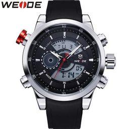 WEIDE Men Sports Watches Top Quality Digital Quartz Multifunctional Waterproof Military Watch PU Band Mens Dress Wristwatches