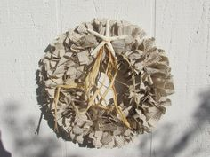Cottage Starfish Rag Wreath Tan White Gingham homespun fabric Osnaburg Muslin Cottage Chic