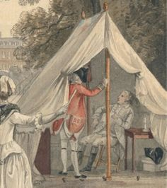 18th century illustration detail of a British Officers tent by Paul Sandby