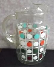 Retro Polka Dot Glass Pitcher Panels of Dots in Grid Ice Lip Large
