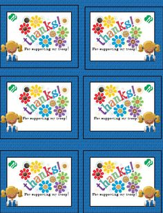 Girl Scout Cookie Thank You Notes Print, sign and attach to box with curling ribbon. Six to a page.