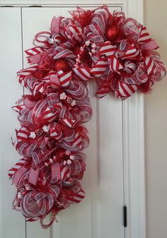 ON SALE Candy Cane Deco Mesh Wreath Candy Cane by 60YearsOfLove