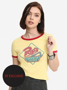 Riverdale Pop's Chock'lit Shoppe Girls Cosplay Ringer T-Shirt Hot Topic Exclusive, YELLOW
