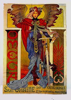 Omega Bicycles ad NOT by Alphonse Mucha...but similar style....so vibrant & pretty