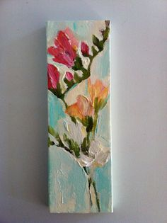FREESIA Flower Painting Impressionistic Study Stretched Canvas Stems Pink White Yellow Fine Art Acrylic Paint on Etsy, $65.00