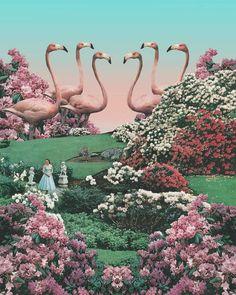 Flamingo Park Art Print by leafandpetal - X-Small Futurism Art, Retro Futurism, Aesthetic Art, Aesthetic Pictures, Madona, Cosmos, Psychedelic Space, Bd Art, Frida Art