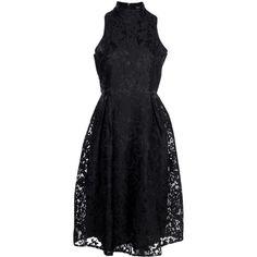 Boohoo Elle Embroidered High Neck Midi Skater Dress | Boohoo ($44) ❤ liked on Polyvore featuring dresses, embroidery dress, midi skater dress, high neck skater dress, midi dress and high neck dress