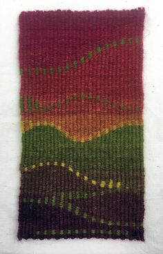 Rebecca Mezoff, Pickin' curves, 3 x 5 inches, tapestry tapestry weaving | eccentric weft weaving | tapestry classes