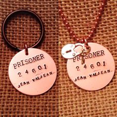 24601 - Hand Stamped Copper Necklace or Keychain - Les Miserables Gifts for Him, Gifts for Her - Prisoner 24601 Jean Valjean - Padlock Charm by ShopCheni, $30.00