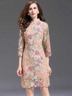 Mink Pink Embroidered Mesh Qipao / Cheongsam Dress
