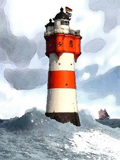 'Leuchtturm Roter Sand' von Dirk h. Wendt bei artflakes.com als Poster oder Kunstdruck $22.17