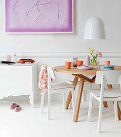 Inspiração décor – salas de jantar brancas com toques de cores