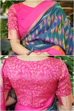 Summer 2019 ready to wear blouses featuring interesting ethnic prints. To buy visit sareeenvy.com or WhatsApp us on +914424988293 Designer Blouse Patterns, Designer Saree Blouses, Cotton Saree Blouse Designs, Sari Design, Simple Blouse Designs, Blouse Models, Ladies Dress Design, Fashion Blouses, Prefixes