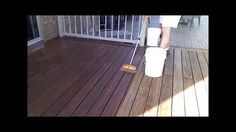 "How To Stain a Deck In 50% Less Time and 50% Less Effort by SaverSystems. Watch this video to find out how to dramatically reduce the amount of time it takes to stain your deck and with less effort. Instead of using a regular 3 or 4 inch hand-held paint brush for those long sections of flat decking that seem to take forever to brush out, use a ""push brush"". They're just like the ones the folks at the car wash use to clean the front end of your car before they roll it into the car wash and…"