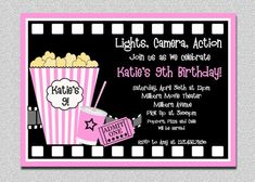 Movie Birthday Invitations Movie Night Birthday Party Invitation Printable Red or Pink