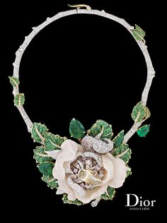 "Dior Joaillerie ""Bal de Mai"" necklace in white and yellow gold with white and colored diamonds, pink opal and emeralds. Le Bal des Roses collection. (Via Adrien Blanchat Company.)"