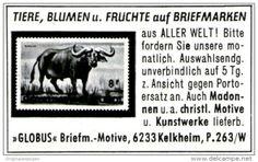 """Original-Werbung/ Anzeige 1963 - BRIEFMARKEN """"GLOBUS"""" KELKHEIM / MOTIV WASSERBÜFFEL - ca. 45 X 30 mm"""