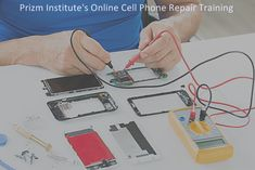 Online cell phone repair training is offered at Prizm Institute at http://www.prizminstitute.com/courses/mobile-repairing-online