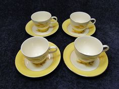 Century Service Corp Autumn Gold  Footed Tea Cup Saucer Sets. FOUR EXCELLENT! #CenturyService