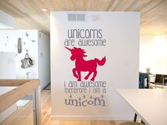UNICORN, UNICORNS ARE AWESOME, CUTE QUOTE WALL ART DECAL VINYL STICKER