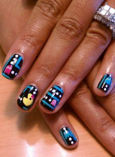 Pac-Man Nails - If you GEEKERY PRODUCTS FOR GIRLS, come have a look at GEEKERY PRODUCTS FOR GIRLS board http://pinterest.com/... - I am the French-Israeli designer of Mademoiselle Alma. Inspired by my daughter, ALMA, I create Jewelry made from LEGO bricks, SWAROVSKI crystals and of course, a great amount of imagination. *** http://www.facebook.com/... Hope you LIKE my Facebook page-shop http://www.etsy.com/... | See more at http://www.nailsss.com/acrylic-nails-ideas/2/