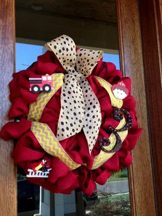 Custom Red Burlap Firetruck Fireman Boy Birthday Wreath  - 3rd Birthday on Etsy, $65.00