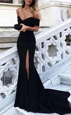 black long prom dresses, prom dresses with split side, sexy women's dresses