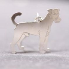 Parson Russell Terrier silver PENDANT 2D etched