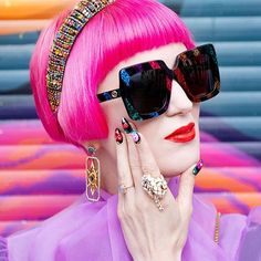 If you wanna know whats going on in my life have a look at my nails. They tell stories to the ones who can read them. That makes them the probably smallest picture book in the world. Bow Blouse, Look At Me, Pink Hair, Cat Eye Sunglasses, Girl Birthday, Gucci, Ootd, Street Style, Nails