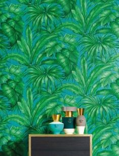 Wallpaper Yasmin Matt Leaves Turquoise Shades of green Graphic Wallpaper, Tree Wallpaper, Wallpaper Panels, Pattern Wallpaper, Wallpaper Jungle, Versace Wallpaper, Turquoise Pattern, Shades Of Green, Colour Shades
