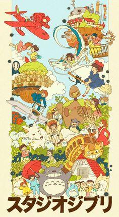 Ghibli Family by Sarah Gonzales Studio Ghibli Films, Art Studio Ghibli, Studio Ghibli Poster, Studio Ghibli Characters, Hayao Miyazaki, Animes Wallpapers, Cute Wallpapers, Vintage Wallpapers, Vintage Backgrounds