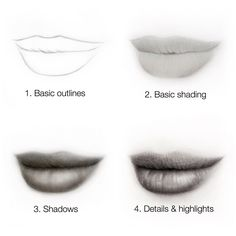 """""""Mi piace"""": 14.6 mila, commenti: 87 - Silvie Mahdal (@silviemahdal_art) su Instagram: """"Is this helpful for you?😊 . Step by step // progress of drawing lips✍ . . . . .…"""""""