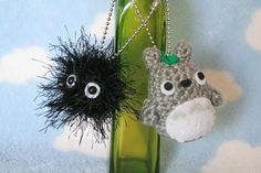 Crochet Totoro and Soot Sprite Keychains via Etsy