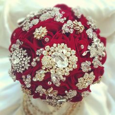 red velvet jewelled bridal bouquet