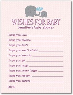 Baby Shower Games -  Elephant Applique Wishes For Baby