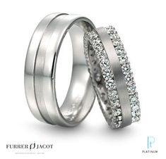 Furrer Jacot platinum and diamond wedding band and matching platinum men's wedding band.