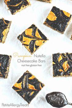 Gluten Free Pumpkin Nutella Cheesecake Bars-PetiteAllergyTreats Pumpkin cheesecake thats #eggfree #glutenfree #nutfree
