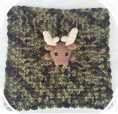 Baby Boy Crochet Deer lovey with camo blanket by TutuFabBowtique