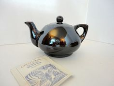Vintage Lustreware Small Teapot Brown Black 1940s by metrocottage