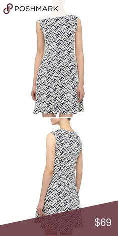 🌺 CHEVRON MATELASSE FIT-AND-FLARE DRESS You can't not love this Sharagano Chevron Matelasse Fit-And-Flare Dress, Navy. Rolled round neckline. The Sharagano dress is classic sexy, powerful and irresistible.  Featuring with round hem, sleeveless, creating an elegantly chic look you'll wear over and over again. Add this need-now piece to your on-duty looks for a modern take on comfortable-chic style. Sharango Dresses