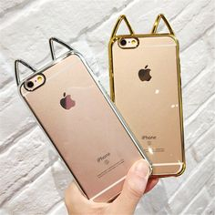 Cute 3D Ear Cat Cover Electroplating Crystal Clear Capa Soft TPU Phone Cases Cover For iPhone 7 7Plus 5 5G 5S SE 6 6G 6S 6Plus-in Phone Bags & Cases from Phones & Telecommunications on Aliexpress.com | Alibaba Group