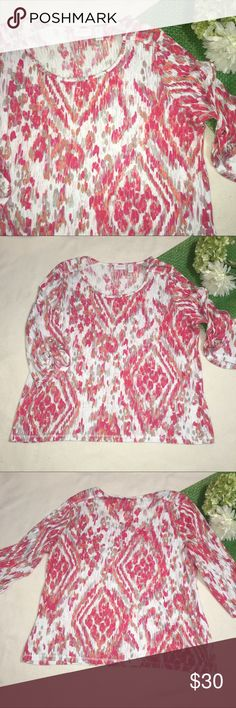 CHICO'S | bright colored weekends top Length: 25"