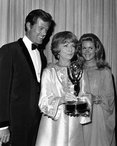 """Robert Culp, Agnes Moorehead, and Elizabeth Montgomery at the Emmy awards....Agnes won for her role as 'Endora' on """"Bewitched""""."""