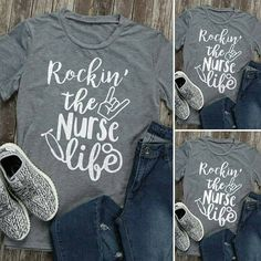 Check out this item in my Etsy shop https://www.etsy.com/listing/518142170/womens-rockin-the-nurse-life-t-shirt