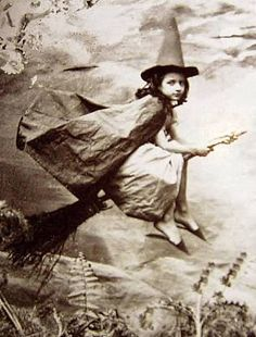 An incredibly rare photograph from the London Academy of Magick, circa 1880, of a trainee witch actually in flight.