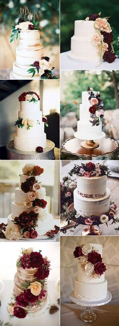 chic pretty burgundy wedding cake ideas burgundy wedding ideas Refined Burgundy and Marsala Wedding Color Ideas for Fall Brides Rustic Wedding, Our Wedding, Dream Wedding, Trendy Wedding, Winter Wedding Cakes, Wedding Cake Flowers, Peacock Wedding, Wedding Events, Wedding Ceremony