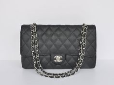 Own it in black as well as white! Chanel 2.55 1113 balck cavier Leather coco bags silver chain