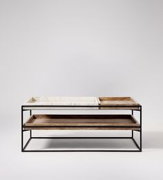 Swoon Editions Coffee table, mid-century-style in white marble and iron- £349