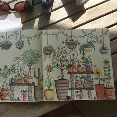 Vases with flowers. Secret garden. Vasos com Flores. Jardim Secreto. Johanna Basford